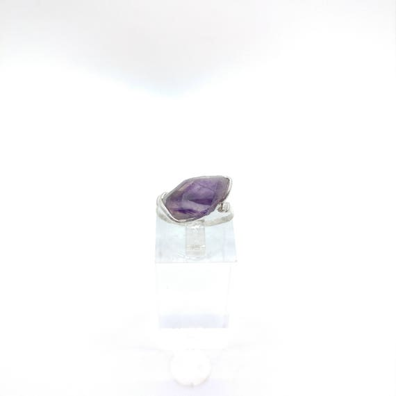Raw Amethyst Ring | Sterling Silver Ring Sz 6.5 | Raw Stone Ring | Raw Crystal Ring | Chevron Amethyst Jewelry | Rough Purple Quartz Ring