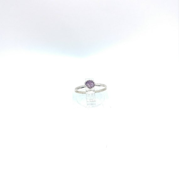 Purple Sapphire Stacking Ring | Sterling Silver Ring Sz 5 | Raw Sapphire Ring | Raw Crystal Stackable Ring | Purple Sapphire Stacker Ring