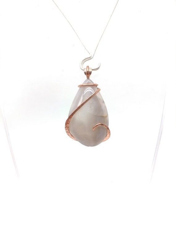 Lavender Agate Necklace |  Simple Agate Pendant | Copper | Stone Pendant | Rustic Pendant