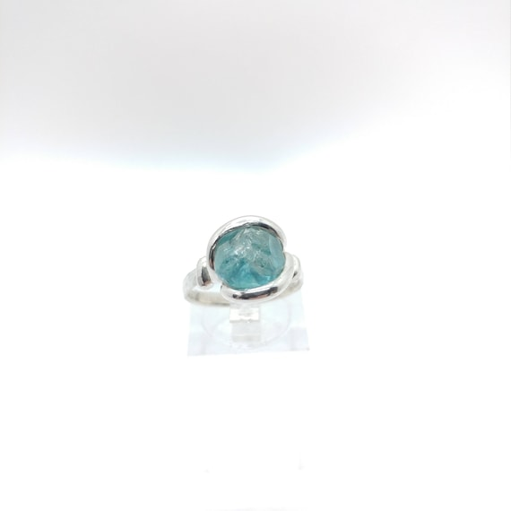 Raw Stone Ring | Blue Zircon Ring | Raw Blue Zircon Ring | Sterling Silver Ring Sz 6.5 | Raw Crystal Ring | Raw Stone Engagement Ring