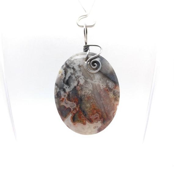 Black & Red Stone Pendant Necklace | Gobi Agate Pendant | Sterling Silver Pendant | Semiprecious Gemstone | Simple Stone Drop Pendant