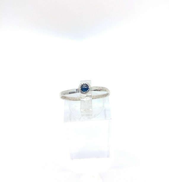 Blue Sapphire Stack Ring | Sterling Silver Ring Sz 7.75 | Blue Sapphire Ring | September Birthstone Ring | Blue Sapphire Stacking Ring