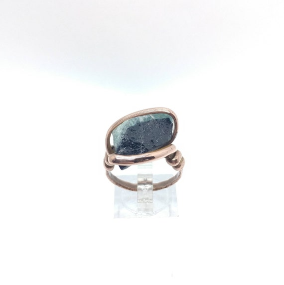 Rustic Ring | Raw Tourmaline Ring | Copper Ring Sz 9.25 | Rough Tourmaline Ring | Rustic Womens Ring | Blue Tourmaline Crystal Ring