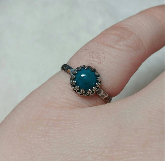 Blue Stone Engagement Ring   Sterling Silver Ring Sz 8   Blue Green Gemstone Ring   Natural Chrysocolla Ring   Simple Blue Stone Ring