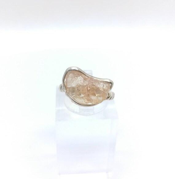 Raw Crystal Ring | Oregon Sunstone Ring | Raw Crystal Ring | Sterling Silver Ring Sz 4.5 | Schiller Oregon Sunstone Ring | Raw Stone RIng