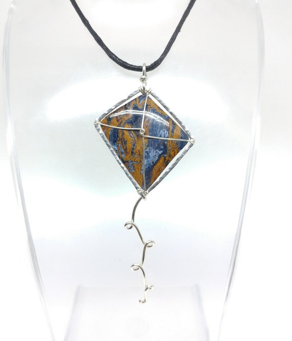Blue and Gold Pietersite Stone Kite Pendant Necklace in Hammered Sterling Silver a Perfect Gift for a Kite Lover