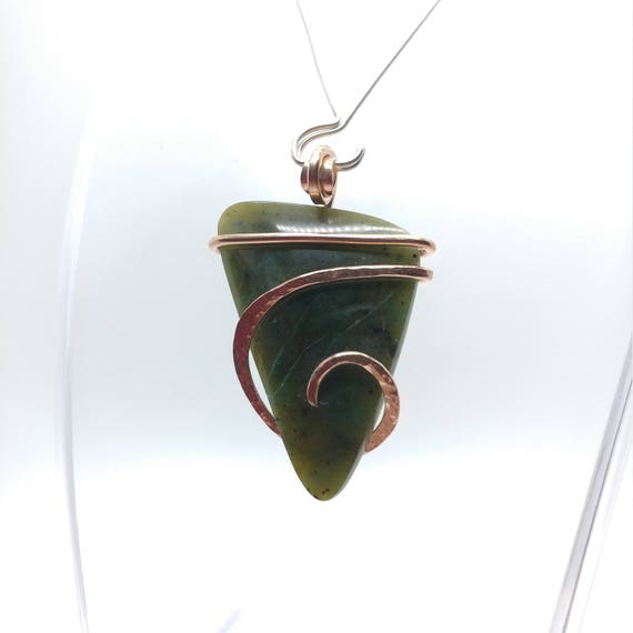 Green Jade Necklace | British Columbia Nephrite Jade | 14kt Rose Gold Filled | Simple Stone Pendant | Simple Green Necklace