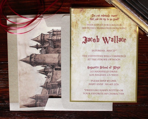 Harry Potter Theme Birthday Invitations 20 Count
