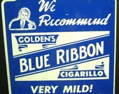 Vintage Blue Ribbon cigars store sign