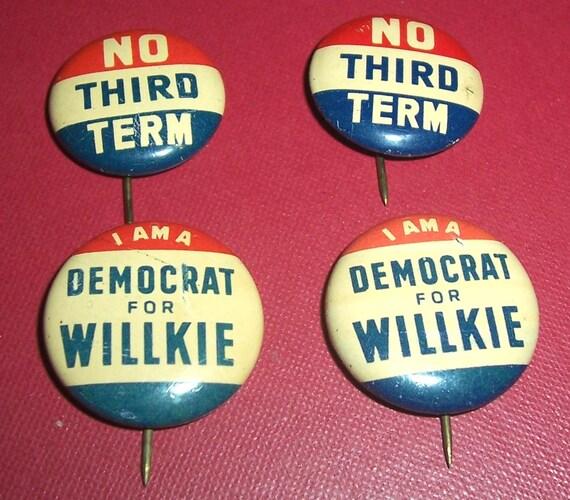 Vintage 1940 FDR Franklin D Roosevelt Presidential Campaign Pinback Green Duck