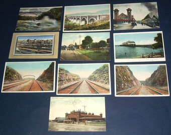 Lot of vintage railroad-related postcards