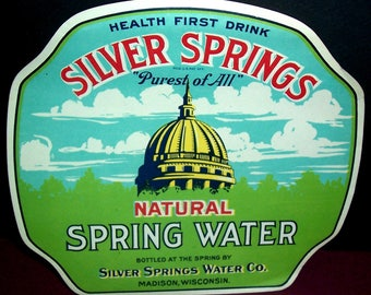 Vintage unused Silver Springs spring water label