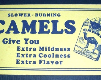 Vintage Camel cigarettes advertising blotter