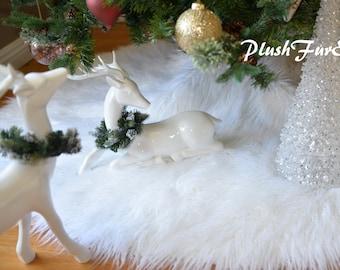 "30"" White Mongolian Faux Fur Tree Skirt Custom Made USA Handmade Christmas Xmas Holiday Home Decors"