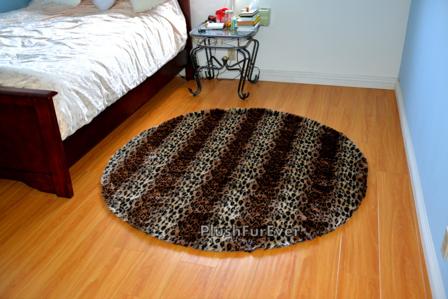Exotic 5' Round Brown Leopard Area Rug Contemporary Rug
