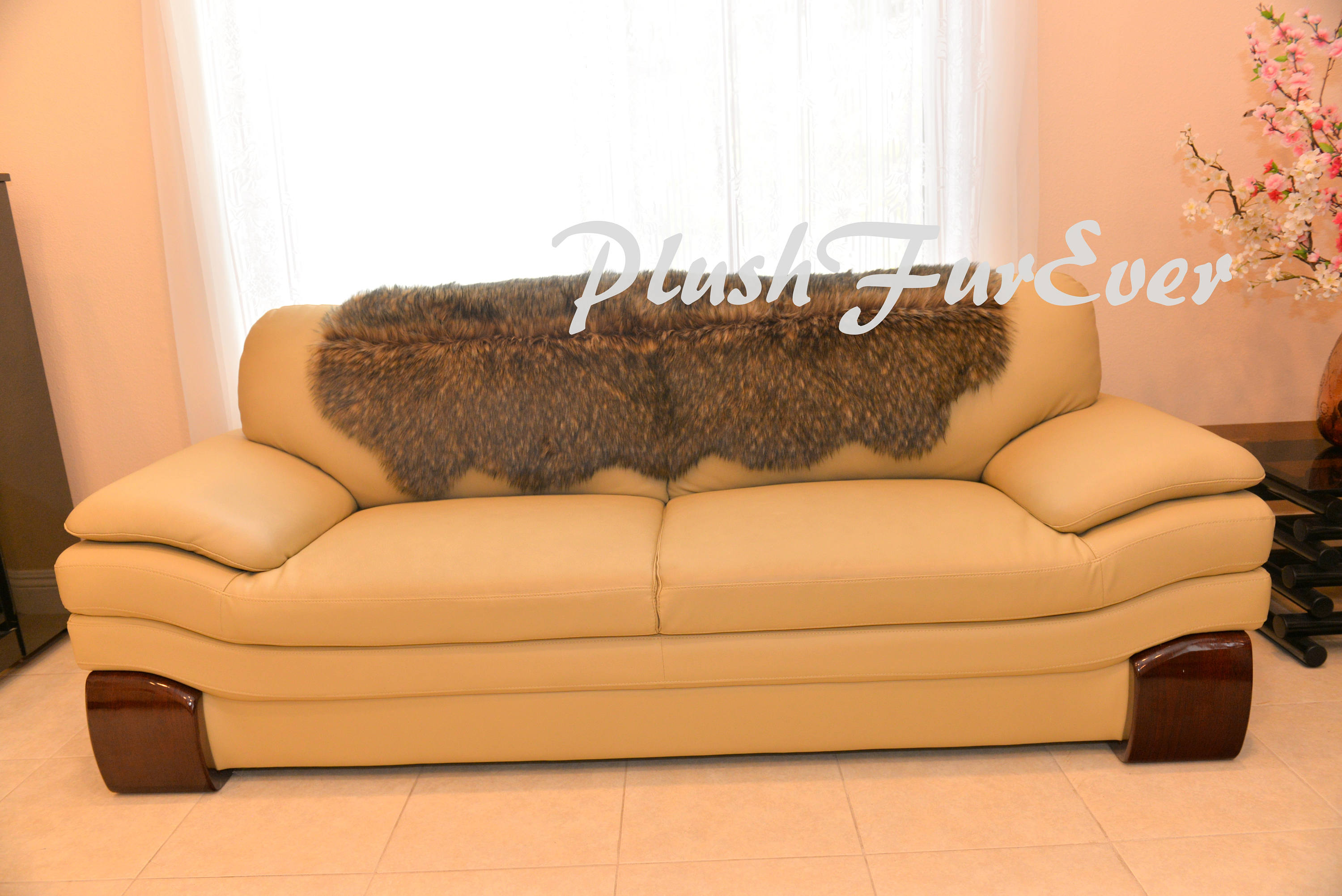 Exotic Couch Back Covers Decors Faux Fur Overlay Covers