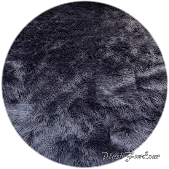 Gray Shaggy Sheepskin Premium Faux Fur Nursery Area Round