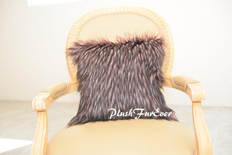 Burgundy Wolf Faux Fur Pillows 18 X 18 Sofa Couch Throw
