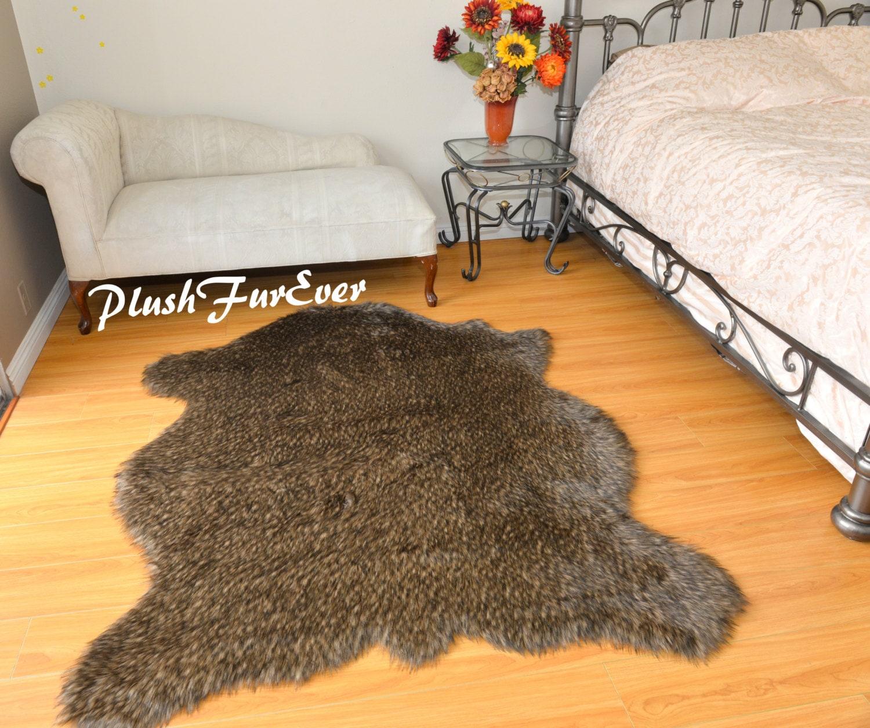5' X 6' Bison Buffalo Shape Coyote Faux Fur Exotic Lodge