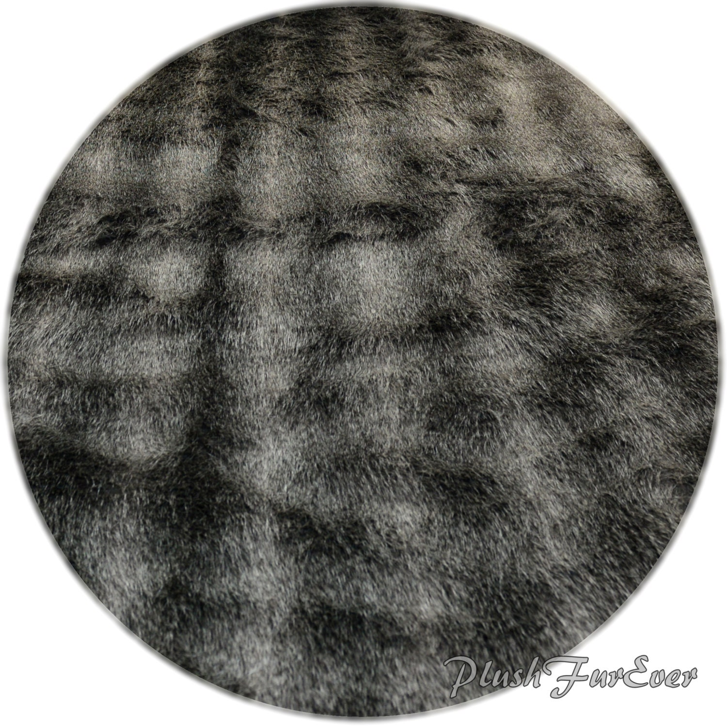 Exotic Silver Raccoon Round Area Rugs Fake Fur Animal