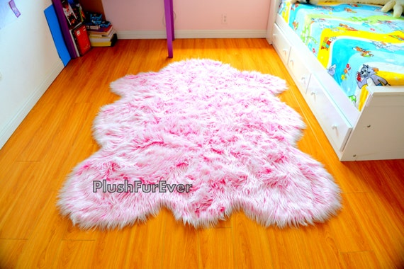 It S A Girl Rug Baby Girl Nursery Rug Pink White Faux Fur Etsy
