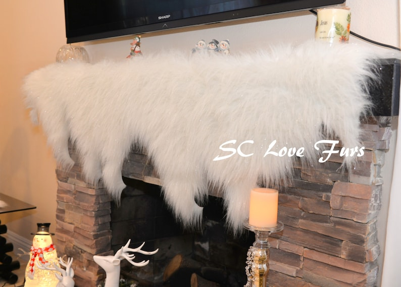 Sparkle White Tinsel Shining Snow Water Tear Drops Design Free Cut Fireplace Mantel Decors Shaggy Faux Fur Christmas Accents Winter Home