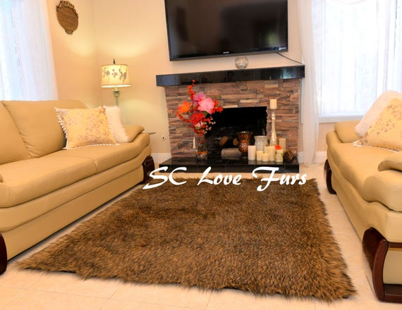Summer Clearance Sale Plush And Soft Faux Fur Rugs Black Tip Camel Fur Perfect For Lodge Cabin Decor Rectangle Small To Large