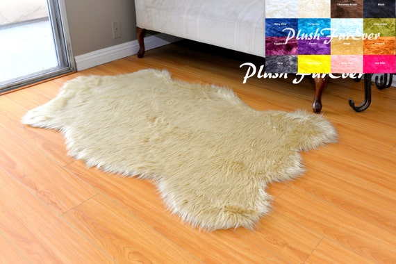 Nursery Faux Fur Decors Area Rug Sheepskin White Brown Black Etsy