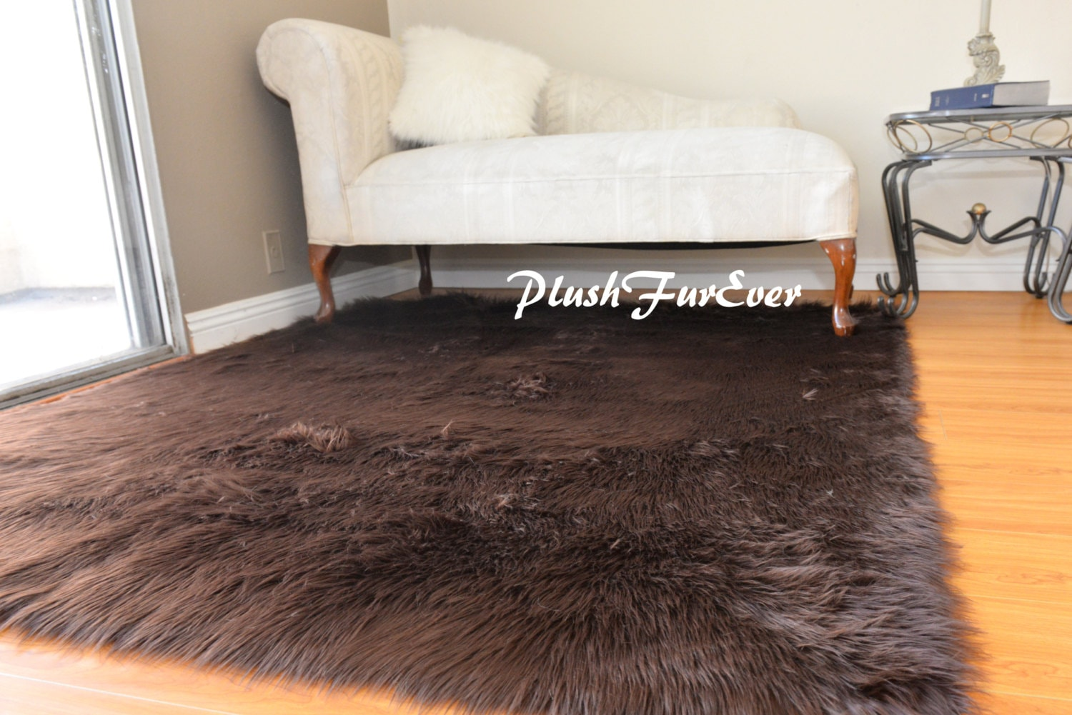 Brown Faux Fur Shaggy Area Rug Grizzly Bearskins Rectangle