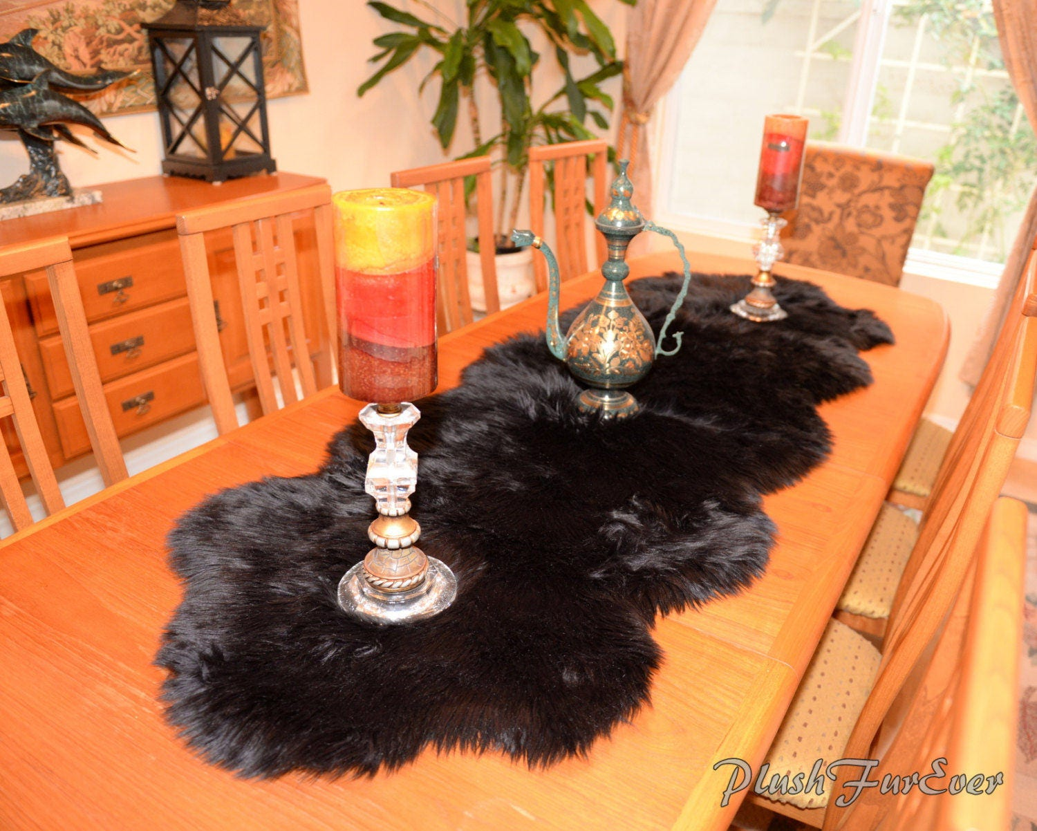 Silver Gray Coyote Grizzly Fox Faux Fur Centerpieces