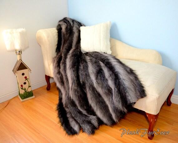 fausse fourrure l ve couverture dredons gris noir fausse etsy. Black Bedroom Furniture Sets. Home Design Ideas
