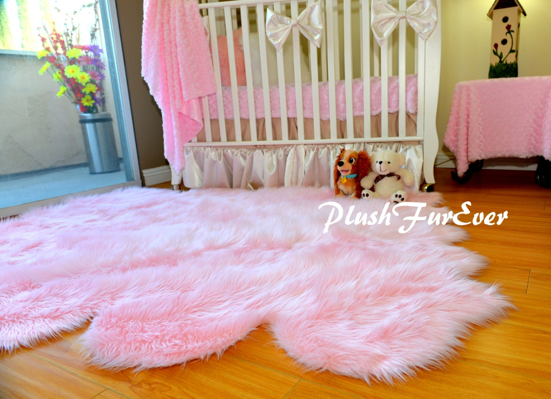 Luxurious Octo Sheepskin Nursery Area Rug Faux Fur Shaggy