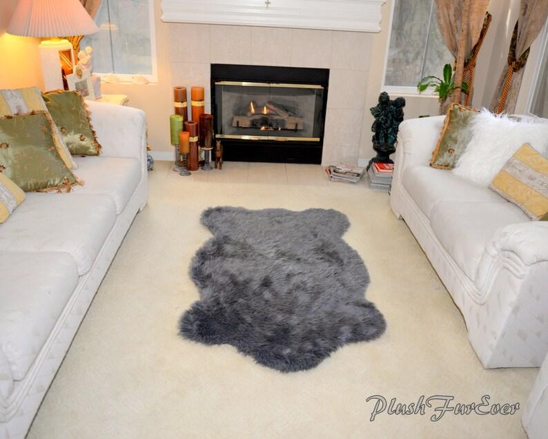 Luxury Gray Sheepskin Faux Fur Rug Living room rug Elegant Fashion Home  Decor Nursery Gifts or Decor Baby Shower Gifts