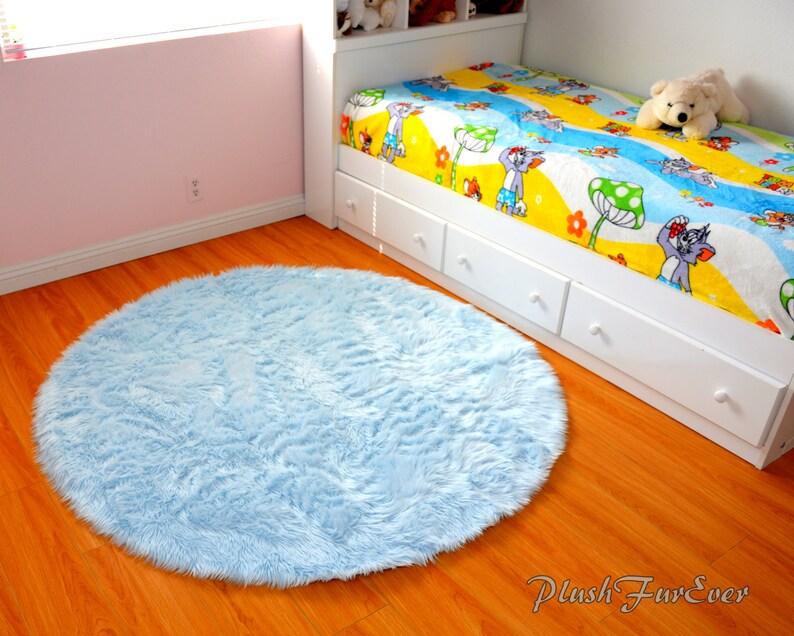 Blau Kinderzimmer Teppich Baby Blau Luxus Kunstpelze Throw Area Rug Runde  Form moderne luxuriöse Kunstpelz Teppiche 5\' oder 60\