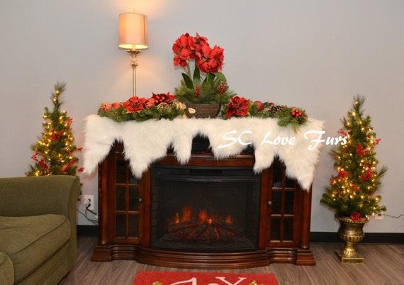 Christmas Fireplace Screen.White Christmas Fireplace Mantel Decors Sheepskin Faux Fur Home Accents Living Plushfurever