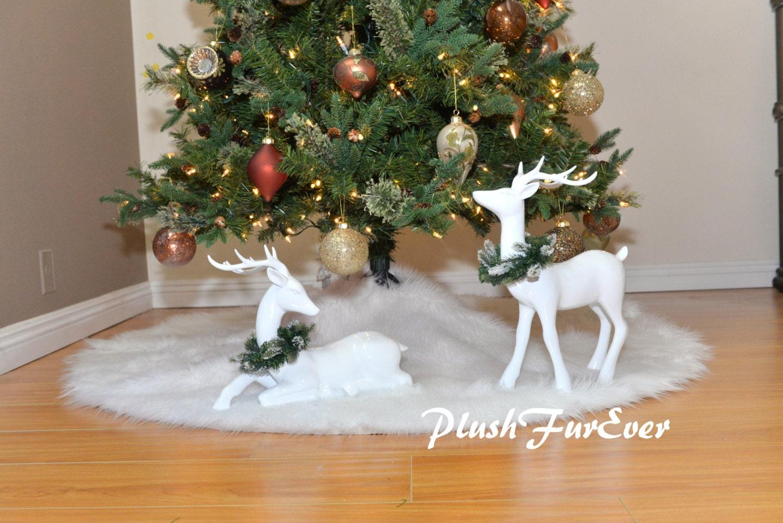 Snow White Warm White Christmas Tree Skirt White Round Holiday Etsy