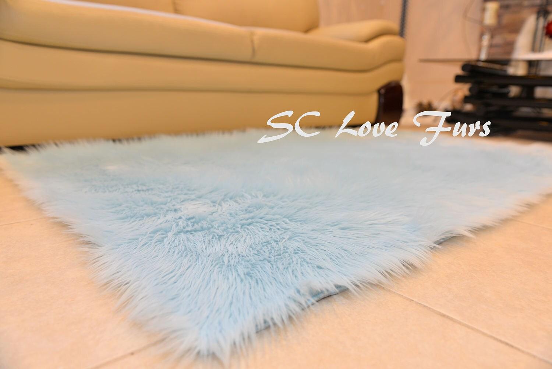 New Plush Baby Blue Rectangle Sheepskin Rug Luxury White