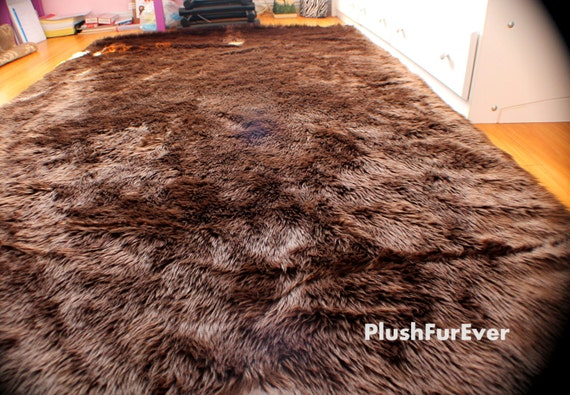 Faux Fur Rug Chocolate Brown Black White Large Rectangle