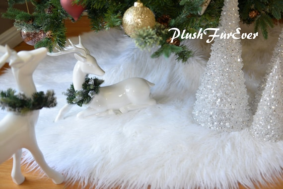 White Mongolian Faux Fur Tree Skirt In Picture Assort Colors Etsy