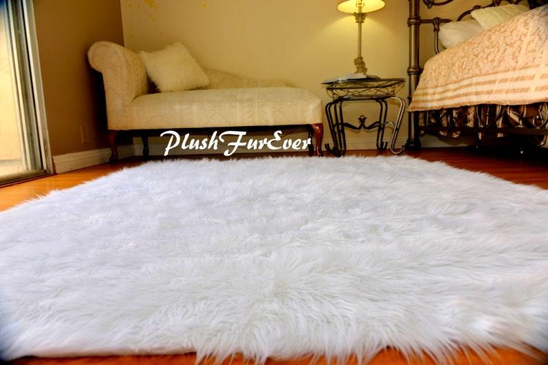 "60/"" 72/"" 84/"" White Shaggy Sheepskin Flokati Faux Fur Throws Holiday Home Decor"