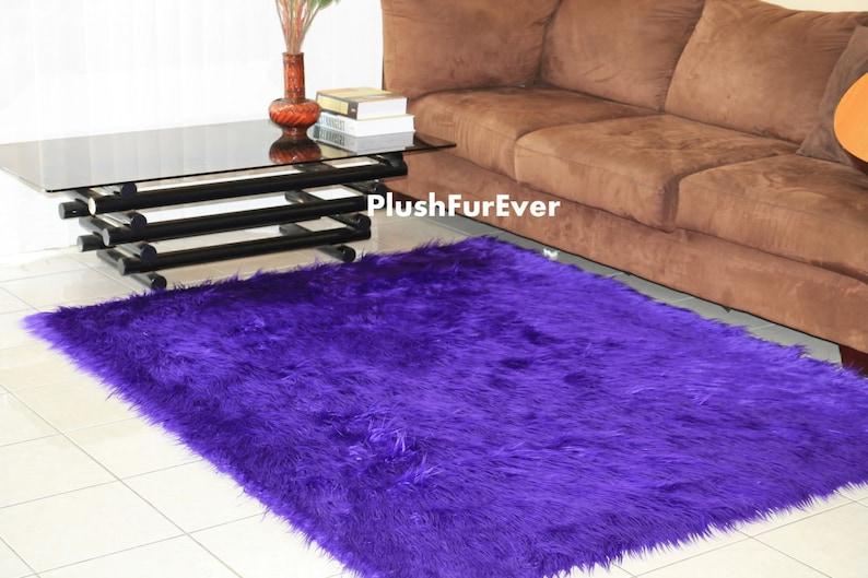 Violets tapis de rectangle imprimé animal tapis mongol longue fourrure  fausse fourrure tapis salon moderne