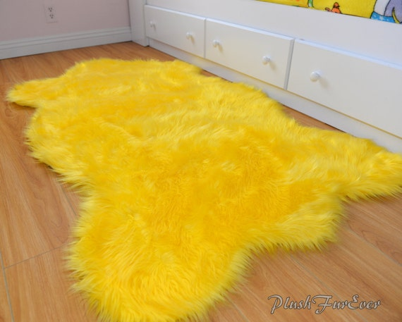Yellow Flokait Shag Rug Indoors Furry Handmade Custom Accent Etsy