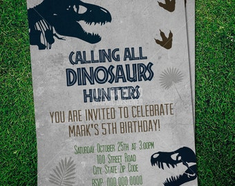 Custom Printable Jurassic Dinosaur Party Birthday Invitation Template Dino Boy Invitattion