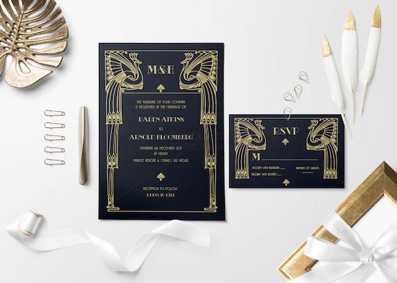 Black /& Gold Wedding Invitation Great Gatsby Themed Art Deco