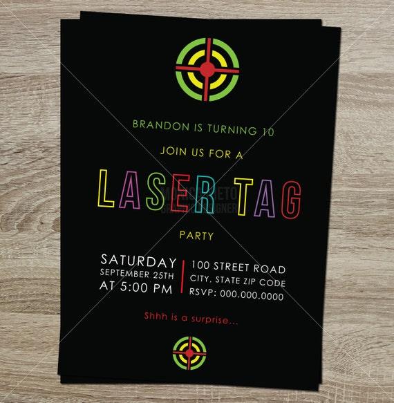 printable laser tag birthday party invitation boys birthday