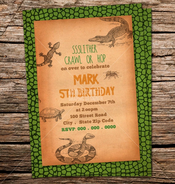 Custom Printable Reptile Birthday Party Invitation Snake Lizard Invitations Decor Boys
