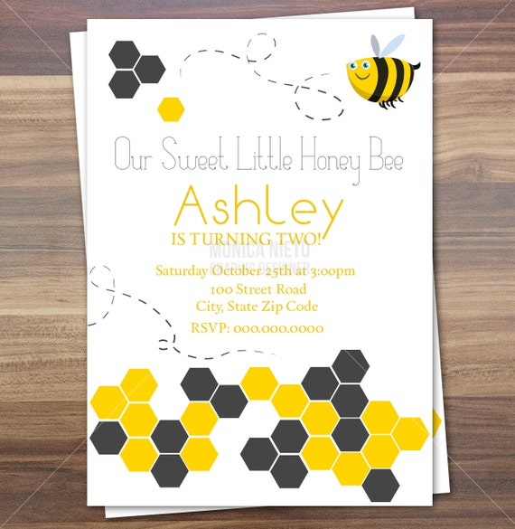 Sweet Honey Bee Birthday Invitation Little Bee Baby Shower Etsy