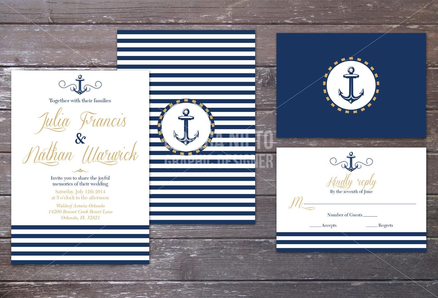 Nautical Wedding Invitation Wording: Printable Nautical Beach Wedding Invitation And RSVP/ Sea
