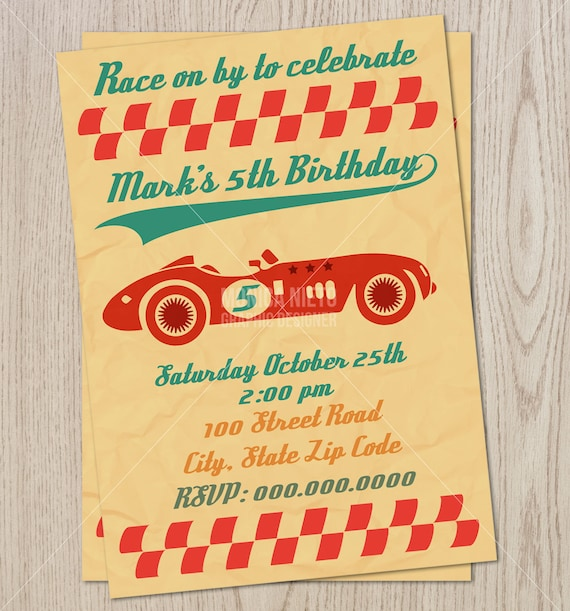 Vintage Race Car Birthday Party Invitation Retro Race Car