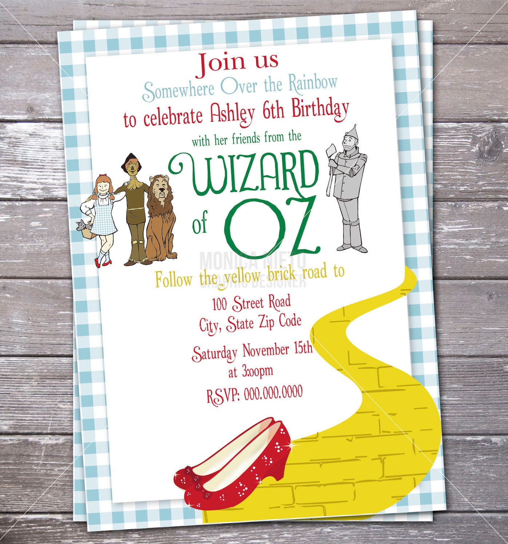 Wizard of Oz Birthday Party Invitation/ Over the Rainbow